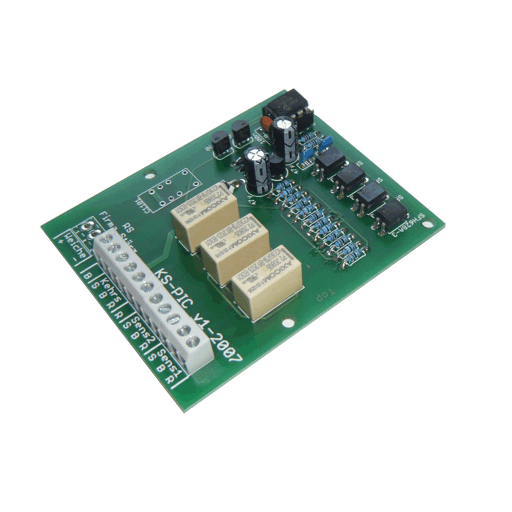 The Reverse Loop Module KS-PIC is a device for adjusting polarity of model railway reverse loops automatically. The module monitors sensor track blocks and switches the polarity of the reverse loop accordingly. Turnout control is not included.