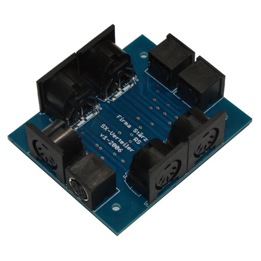 The Multi Distributor is a distributor for the SX-, PX and MX-Bus. As it incorporates 3 MX-jacks it easily allows to connect a Mobile Station to an existing SX-jack based Selectrix-System.