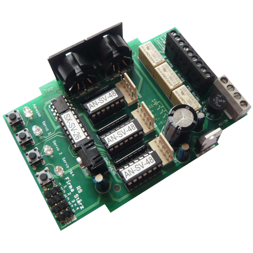 The Servo Decoder is a switching module to comfortably control 3 servo motors of a model railway layout including frog polarisation. Steering is acomplished via push buttons to be connected or via SX bus.